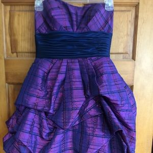 Purple/navy plaid formal dress size 2
